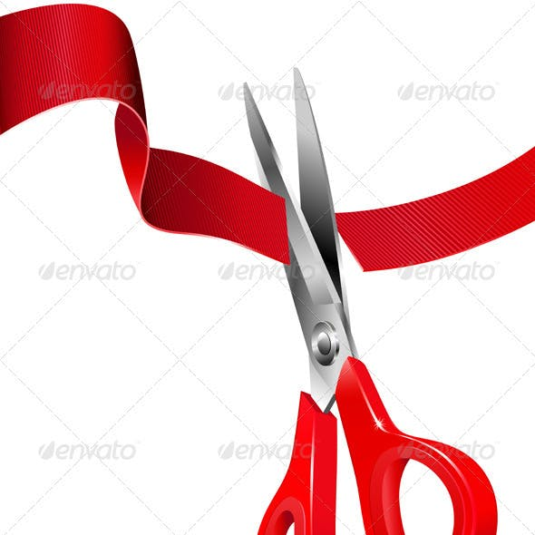 Scissors Cutting the Red Ribbon