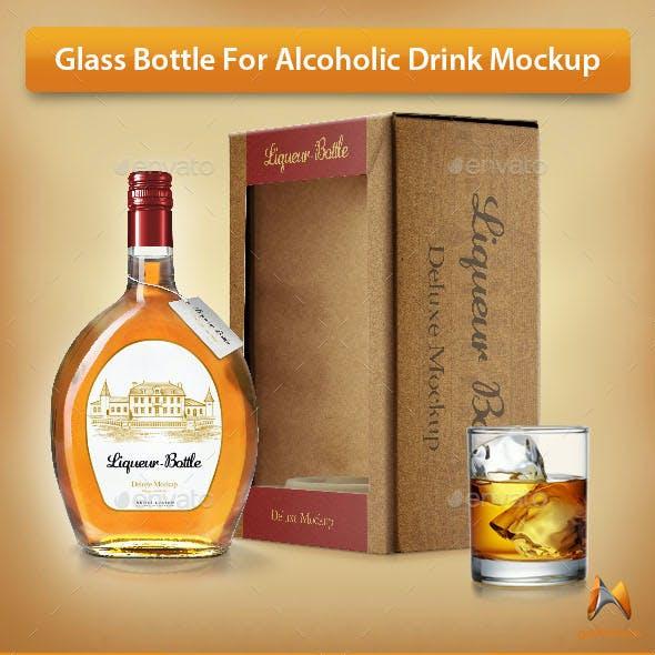 Glass Bottle For Alcoholic Drink Mockup