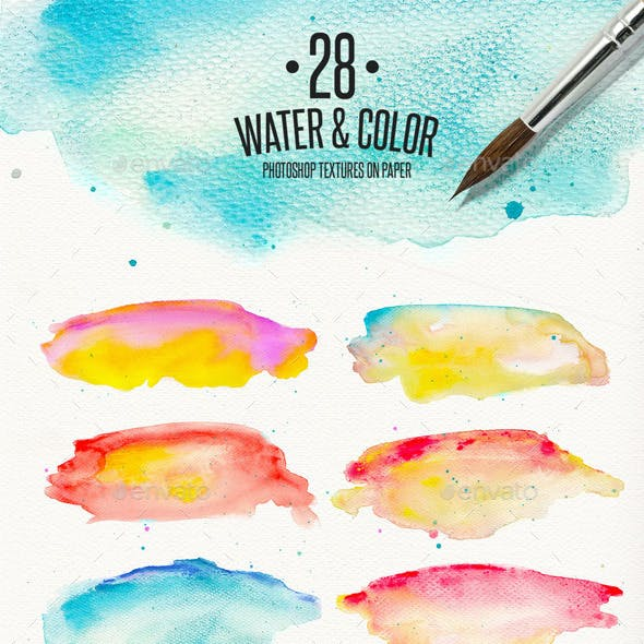 28 Watercolor Textures on Paper