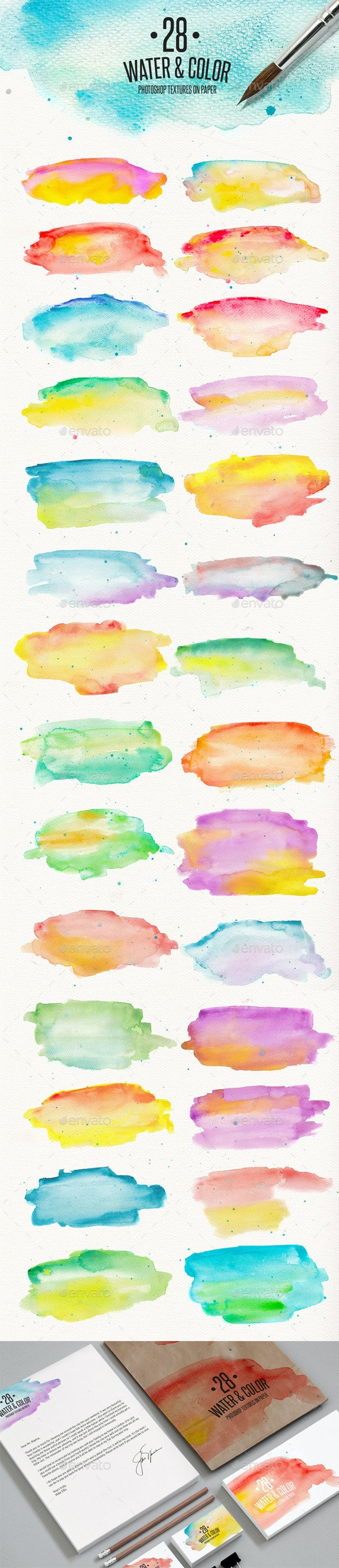 28 Watercolor Textures on Paper - Paper Textures