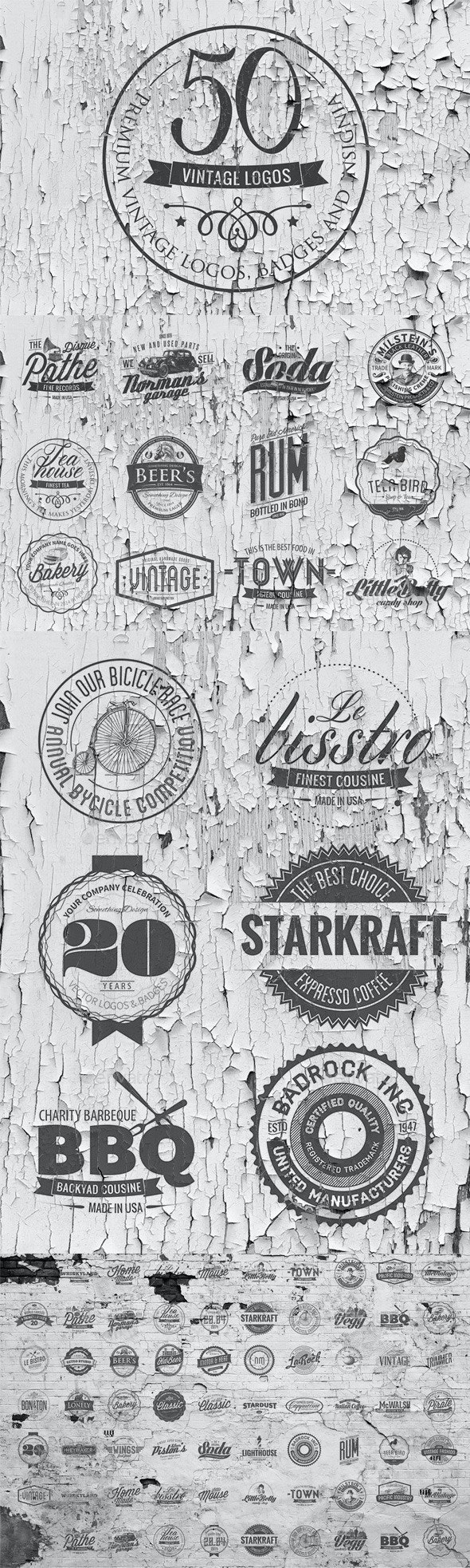 50 Vintage Logos Templates - Badges & Stickers Web Elements