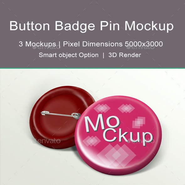 Button Badge Pin Mock-up