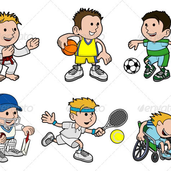 A Set of Sports Cartoon Characters