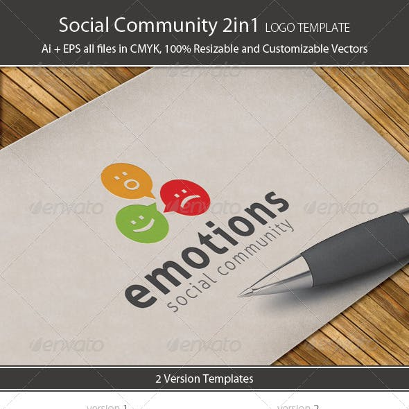 Social Community Logo Template 2in1
