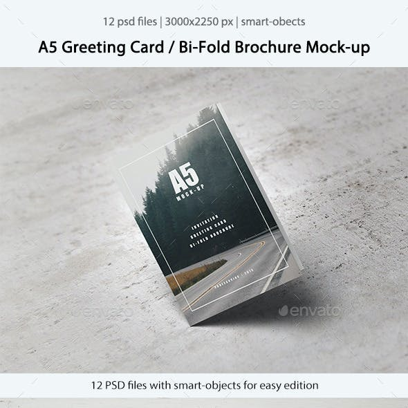 A5 Greeting Card / Bi-Fold Brochure Mock-Up