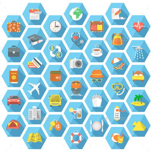 Traveling and Tourism Flat Hexagonal Icons Set