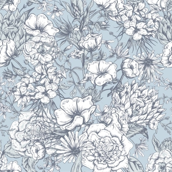 Retro Summer Seamless Monochrome Floral Pattern - Patterns Decorative