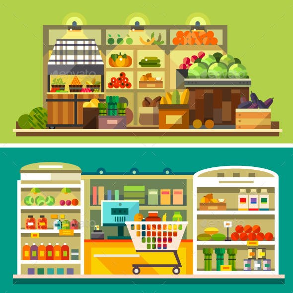 Shop, Supermarket Interior: Showcases, Fruits