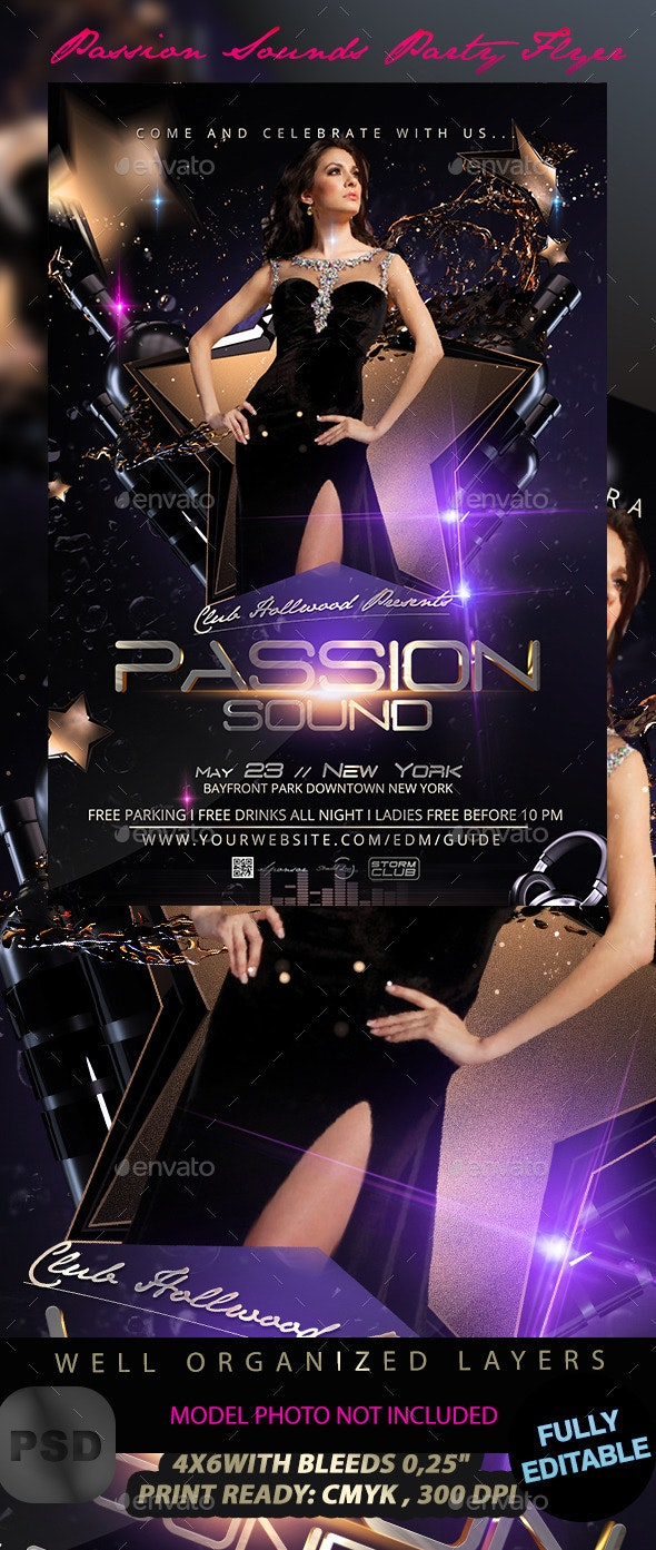Passion Sounds Party Flyer Template - Events Flyers