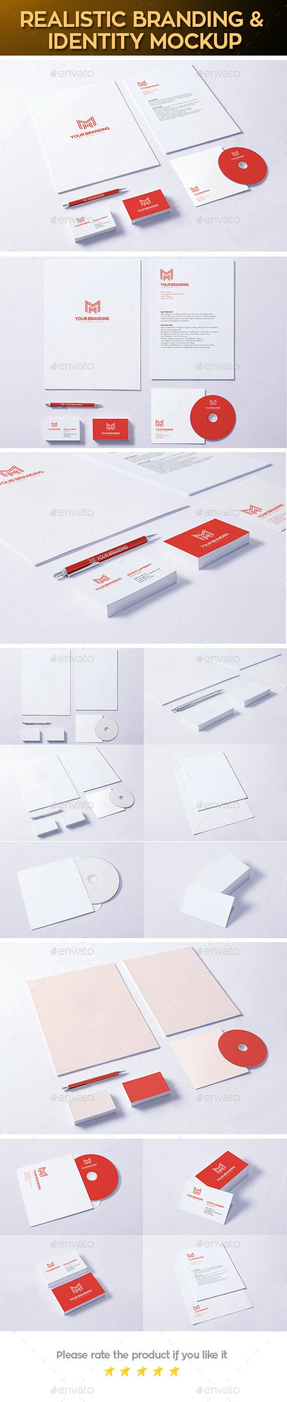 Realistic Branding & Identity Design Mock-up - Stationery Print