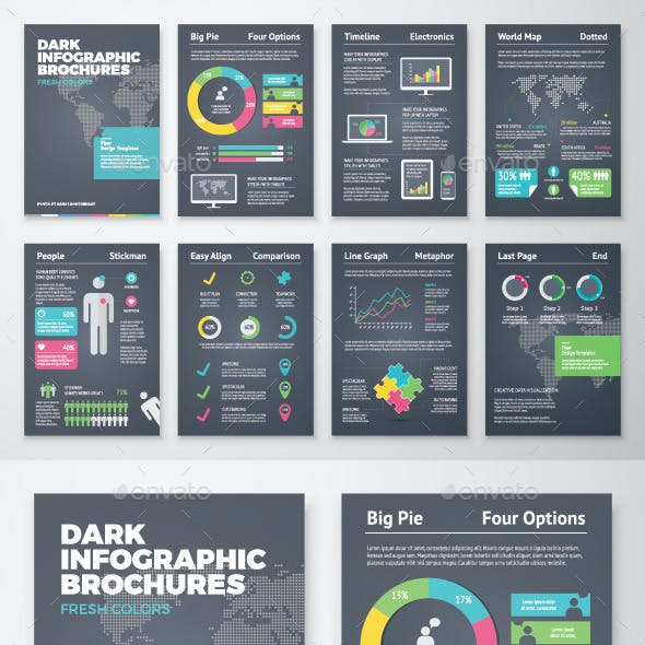 Dark Infographic Brochure Vector Elements Kit 1