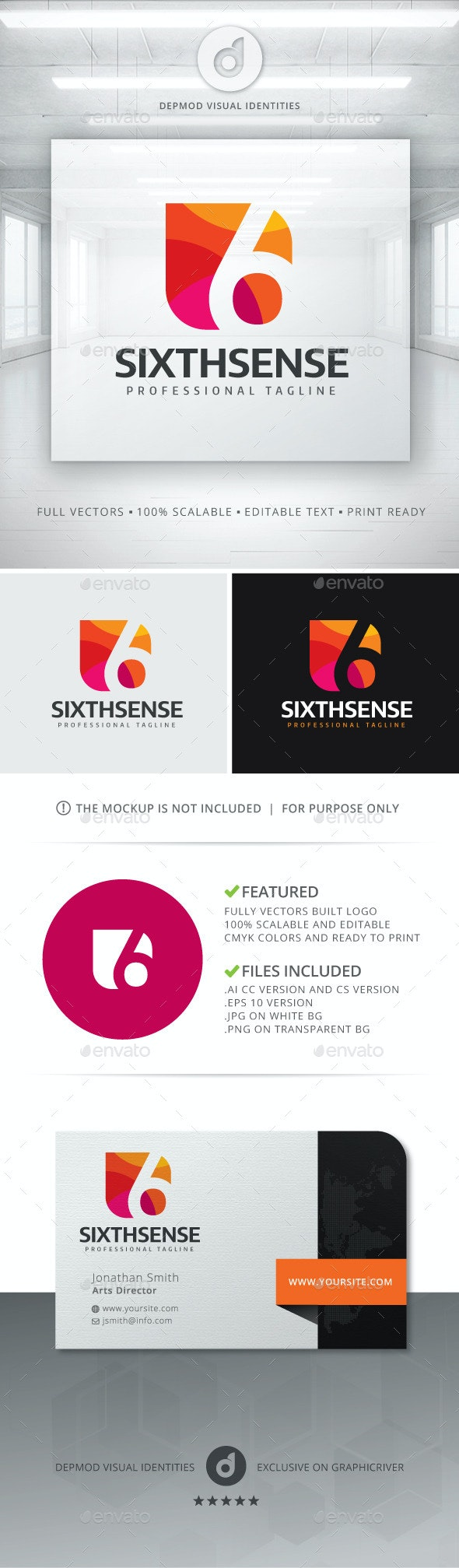 Sixth Sense Logo - Numbers Logo Templates