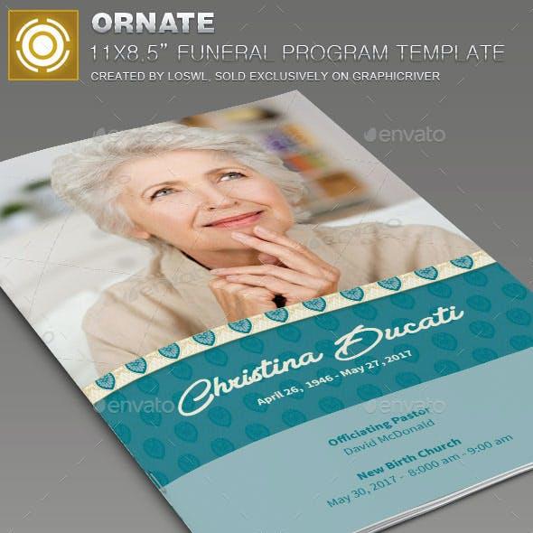 Ornate Funeral Program Template