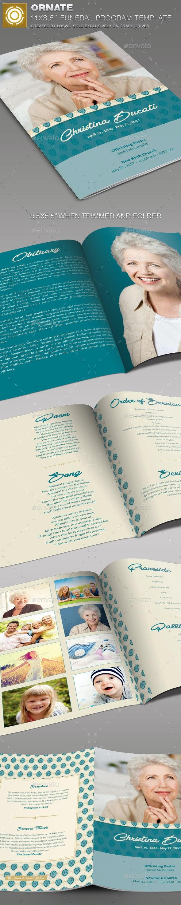 Ornate Funeral Program Template - Informational Brochures