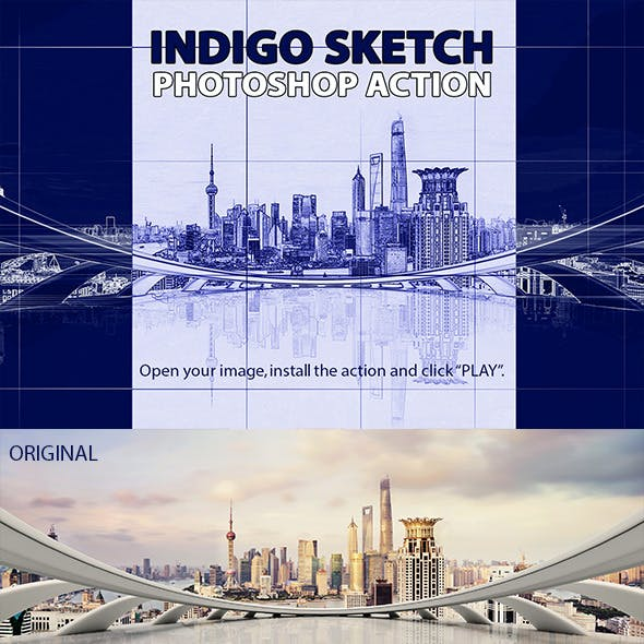 Indigo Sketch Photoshop Action