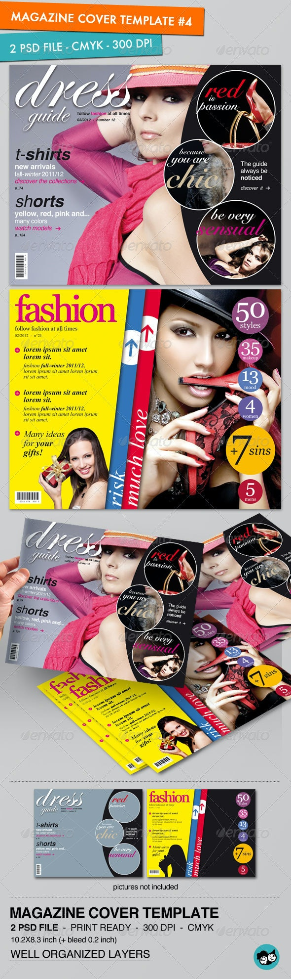 Magazine Cover Template (pack #4) - Magazines Print Templates