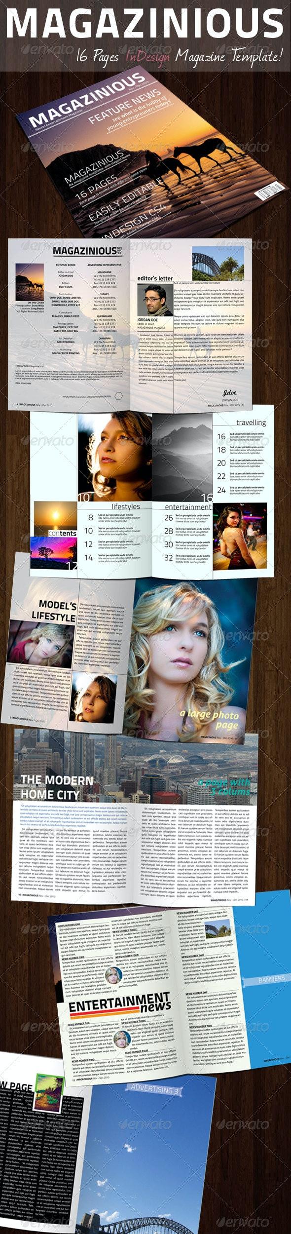 MAGAZINIOUS - InDesign Magazine Template - Magazines Print Templates
