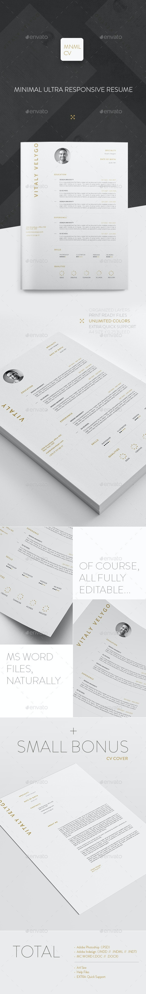 MNML CV / Minimal Clean Resume - Resumes Stationery