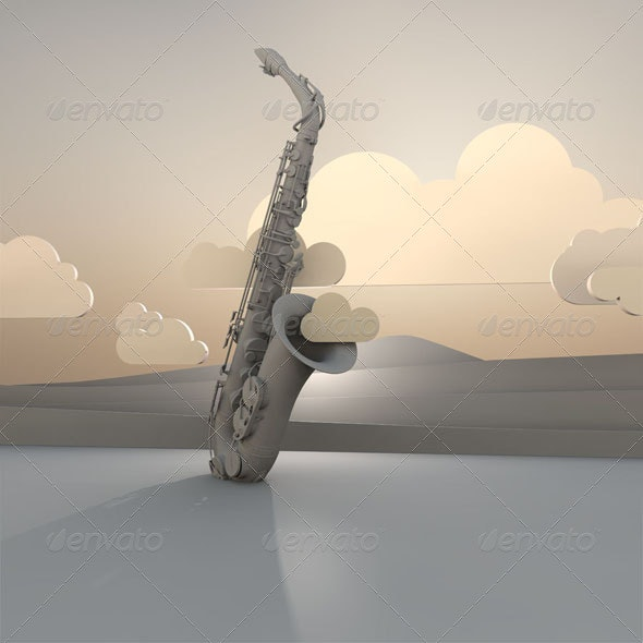 Saxophone and Clouds - Miscellaneous Backgrounds