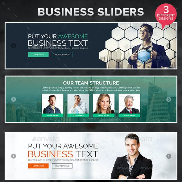Business Sliders - 3 Designs