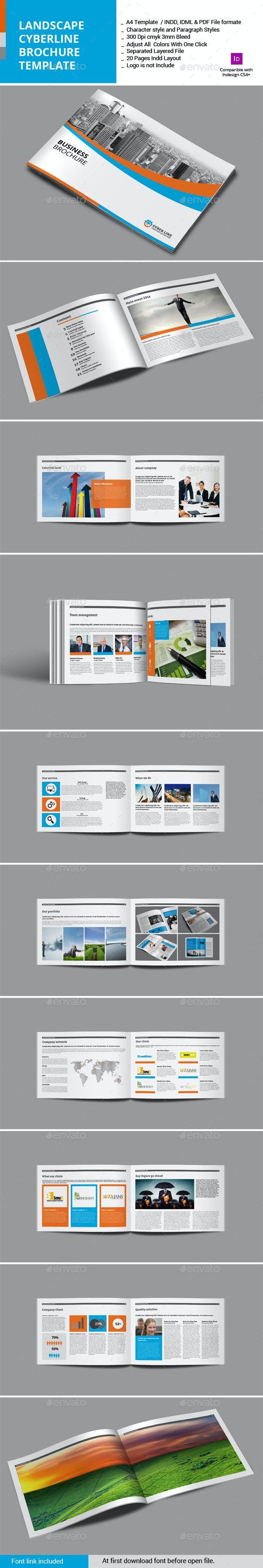 Landscape Syberline Brochure Template - Corporate Brochures