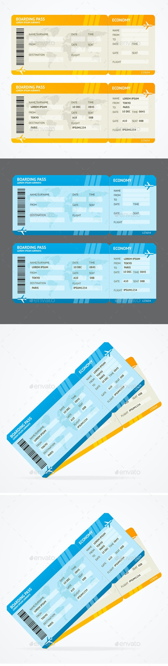 Vector Modern Airline Boarding Pass Tickets - Travel Conceptual