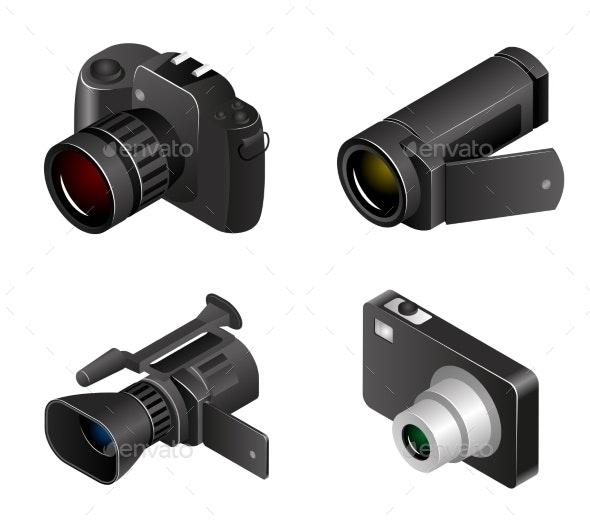 Vector Camera. Photos And Videos 3d Realistic - Objects Vectors