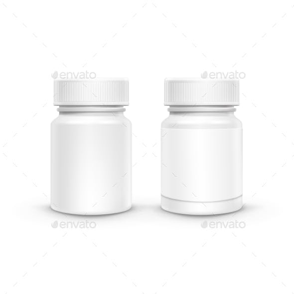 Vector Plastic Packaging Bottle With Cap For Pills