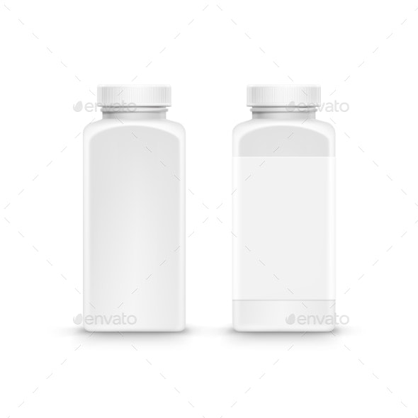 Vector Plastic Packaging Bottle With Cap For Pills - Health/Medicine Conceptual