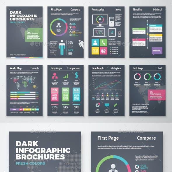 Dark Infographic Brochure Vector Elements Kit 2