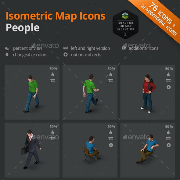 Isometric Map Icons - People