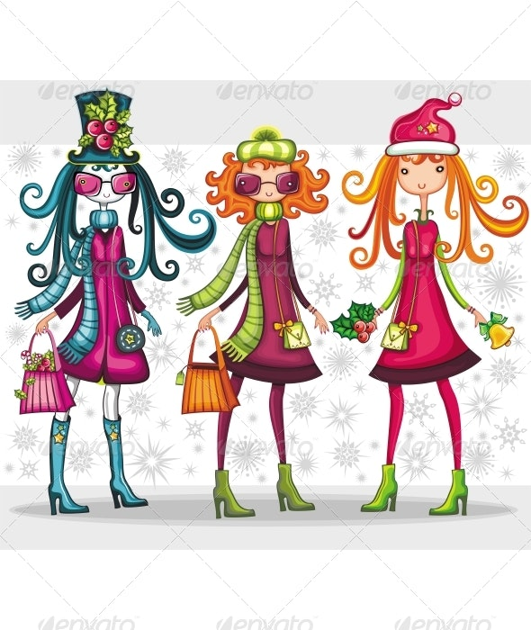 Christmas sale: beautiful girls - Christmas Seasons/Holidays