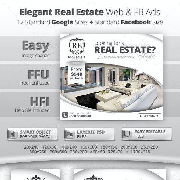 Elegant Real Estate Web & Facebook Banners