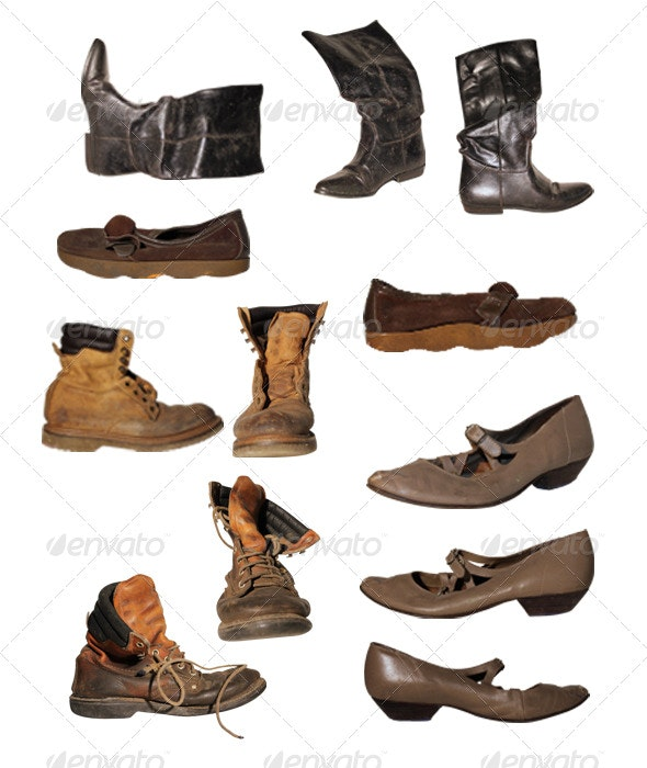 Old Weathered Shoes - Clothes & Accessories Isolated Objects