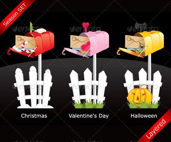 Season celebration mailbox SET - Seasons/Holidays Conceptual