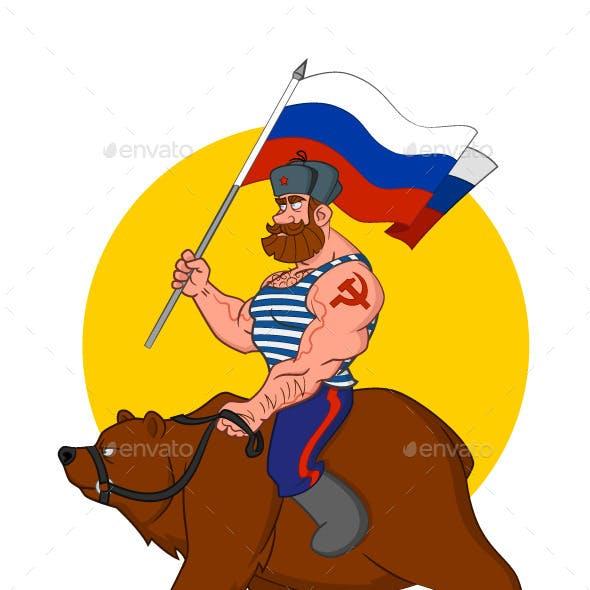 Russian Riding a Bear