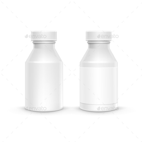 Plastic Packaging Bottle with Cap for Pills - Health/Medicine Conceptual