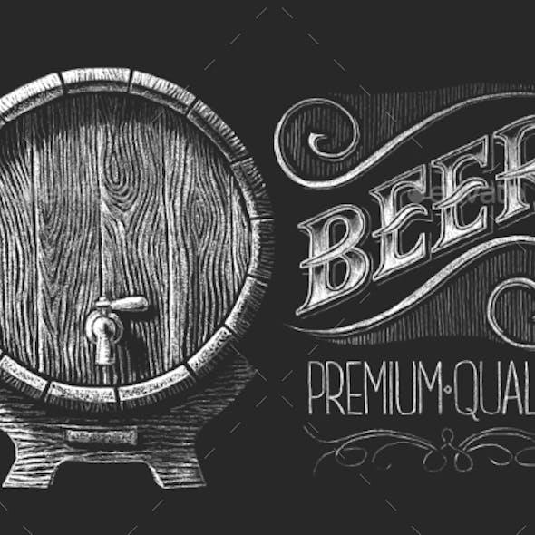 Barrel Of Beer On Chalkboard