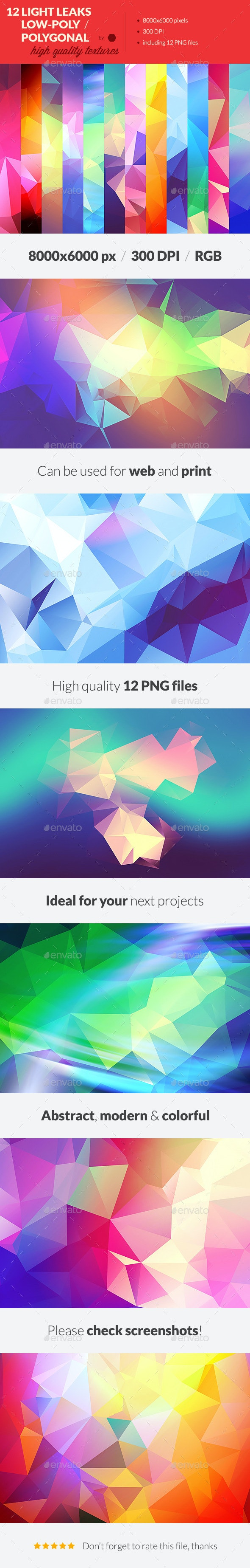 12 Light Leak Polygonal Background Textures #3 - Abstract Backgrounds