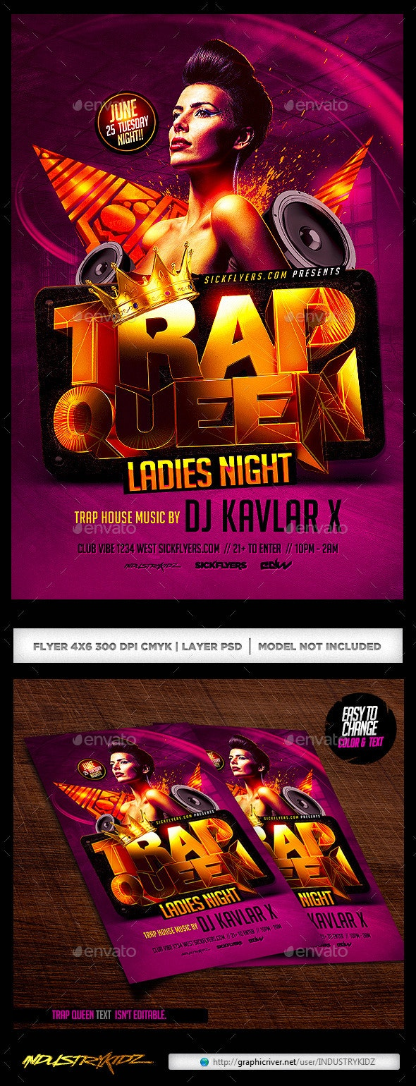 Trap Queen Ladies Night Flyer - Clubs & Parties Events