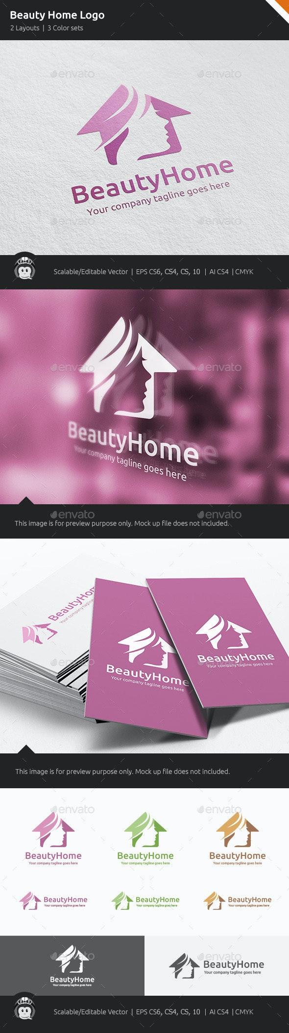 Beauty Home Woman House Logo - Humans Logo Templates