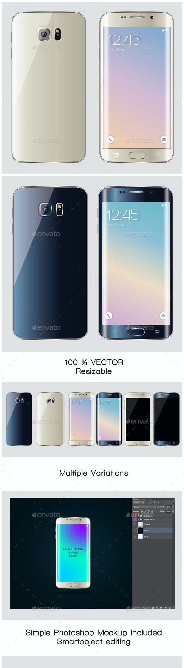 Realistic Premium Smartphone Vector + Mockup - Communications Technology