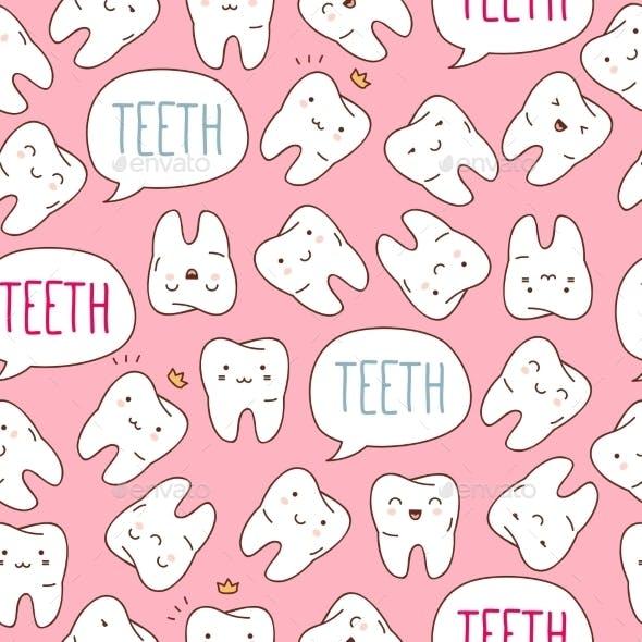 Seamless Colorful Teeth Pattern