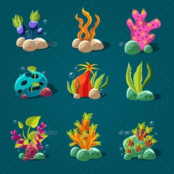 Set Of Cartoon Algae Elements For Aquarium