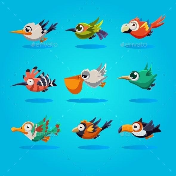 Funny Cartoon Birds, Vector Illustration - Animals Characters