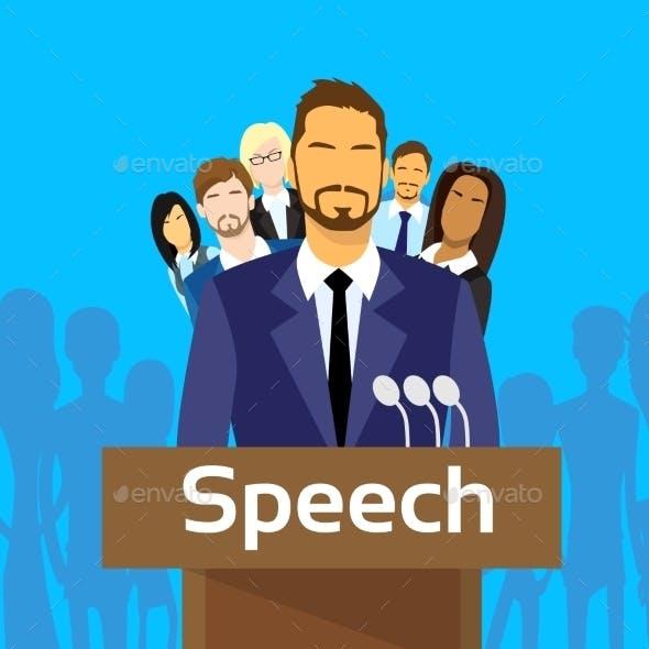 Tribune Speech Businessman Politic With Team