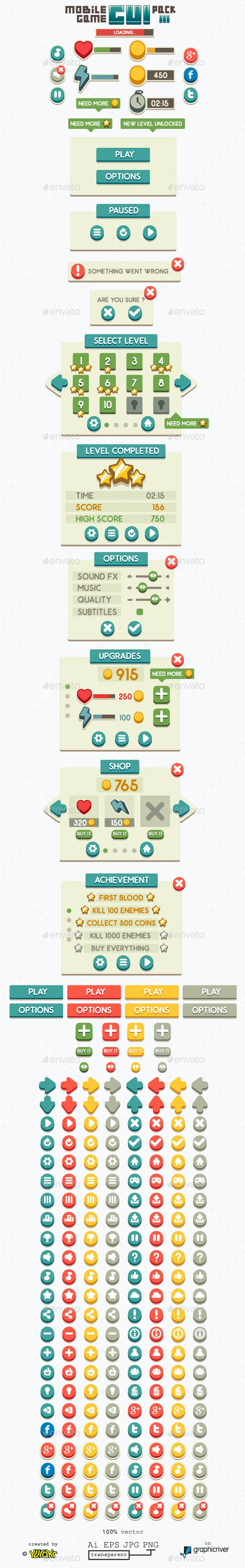 Mobile Game GUI Pack 3 - User Interfaces Game Assets