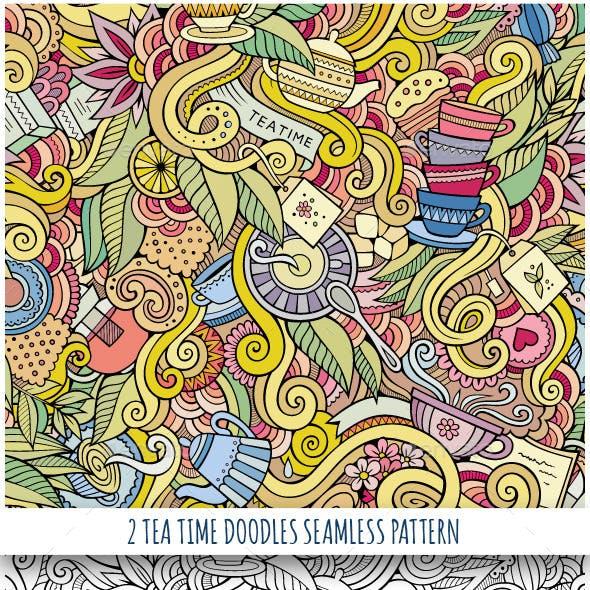 2 Tea Time Doodles Seamless Patterns