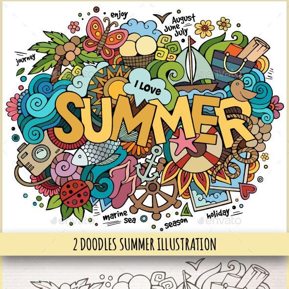 2 Summer Doodles Illustrations