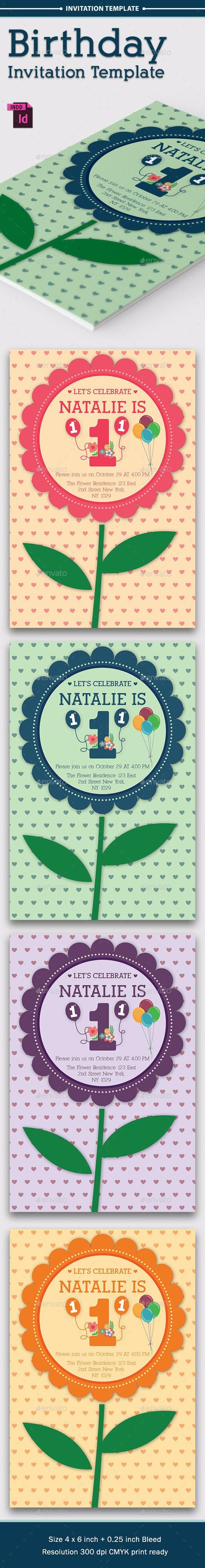 Baby Birthday Template - Vol. 3 - Cards & Invites Print Templates